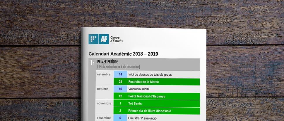 Calendari acadèmic 2018-19